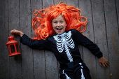 picture of antichrist  - Portrait of joyful girl in red wig holding lantern and looking at camera - JPG