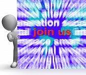 image of joining  - Join Us Word Cloud Sign Showing Joining Membership Register - JPG