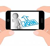 picture of joining  - Join And Running 3D Character Displaying Joining Membership Register - JPG