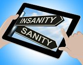 foto of insane  - Insanity Sanity Tablet Showing Crazy Or Psychologically Sound - JPG