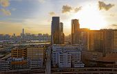 picture of hong kong bridge  - Sunset in downtown city - JPG