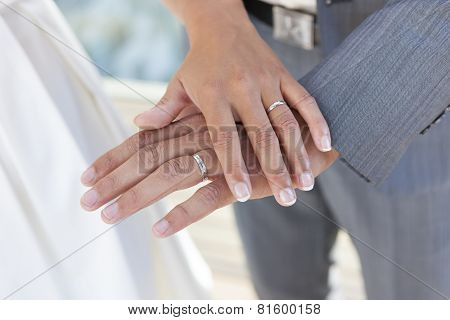 Two hands of newlyweds