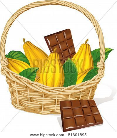 Basket Full Of Cocoa Pod And Chocolate Isolated On White Background