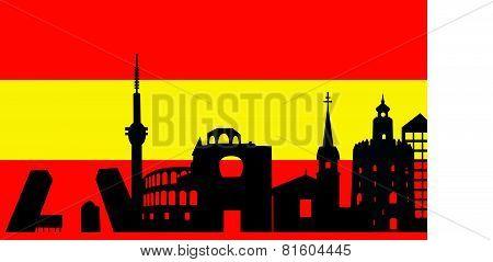 Spain Skyline And Flag