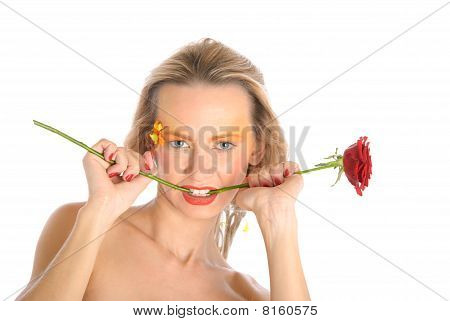 Young Woman Bites Flower Stalk