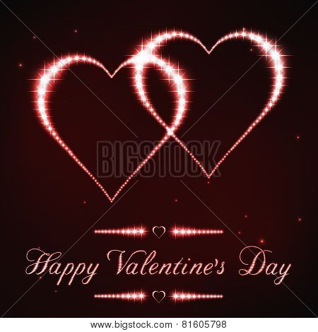 Illustration of Valentine's card in style of red star constellation