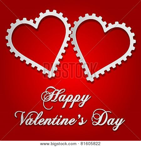 illustration of Valentine's card with gear style hearts over red gradient background