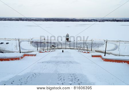 Frozen Volga River At Nizhny Novgorod In Winter