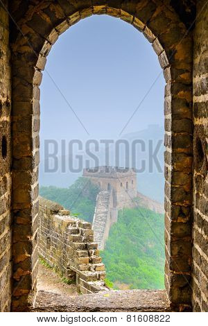 Great Wall of China viewed from within a lookout tower.