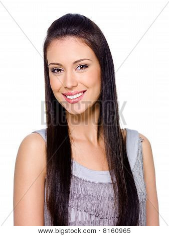 Happy Smiling Woman With Long Hair