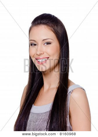 Happy Woman With Straight Long Hair