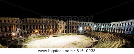 PULA,CROATIA - AUG 22 2014 - Ancient Roman Amphitheater at night