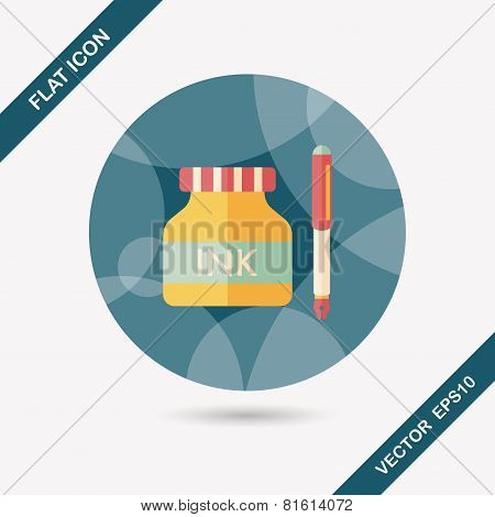 Pen And  Ink Bottle Flat Icon With Long Shadow,eps10