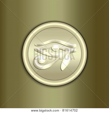 Vector abstract golden amulet background with ornament and curve