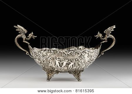 Antique Silver Dragon Bowl.