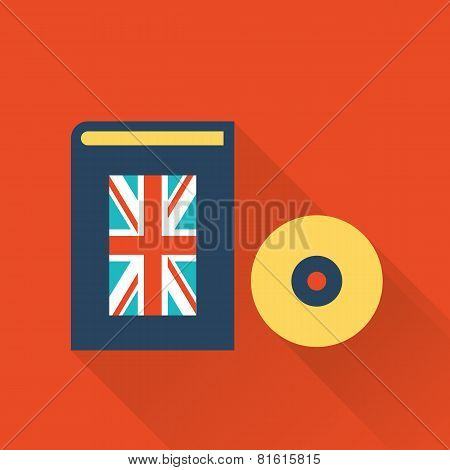 english learning language book and disk
