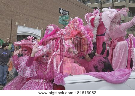 Truck Full Of Pink Mardi Gras Ladies