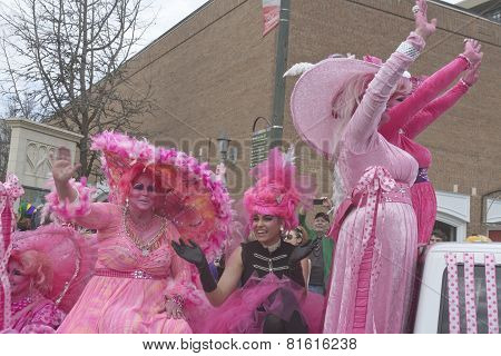 Hot Pink Costumes In The Mardi Gras Parade