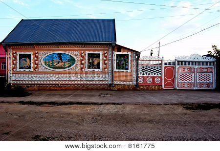 House decorated with characters from Russian fairy tales