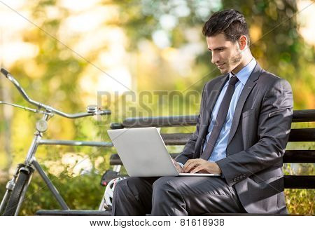 Businessman with bicycle working on laptop on bench in park