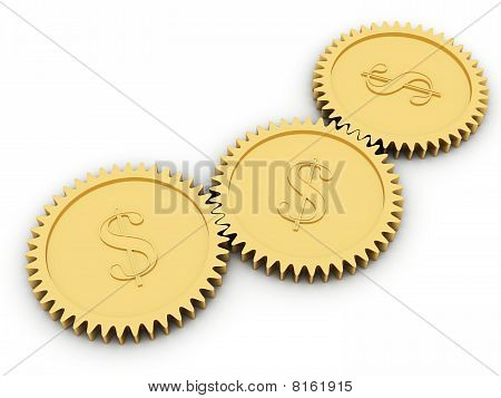 Golden Dollar Gears On White