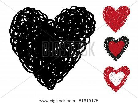Free Hand Swirl Sketch of a Heart frame. Vector eps10.