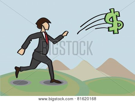 Chasing After Money Metaphor Vector Cartoon Illustration