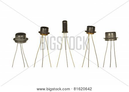 Five Soviet-made Transistors Isolated On White Background.