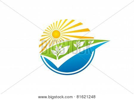 global nature plant logo, sun power symbol, solar energy icon