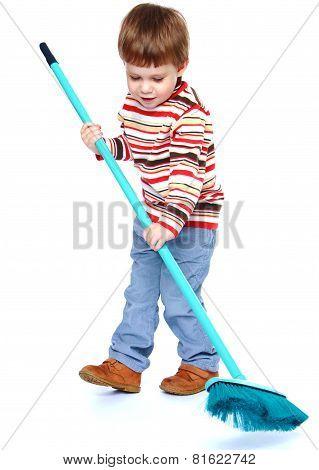 little boy my mother's helper, sweeping brush the floor.