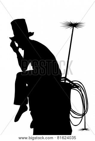 Chimney sweep on pipe with tools on a white background