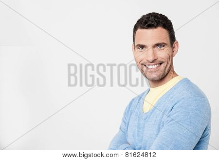 Cheeful Man Posing With Confidence