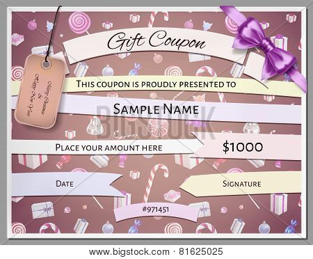 Gift Certificate Template As Coupon With Ornate Border And Christmas Elements In Vector