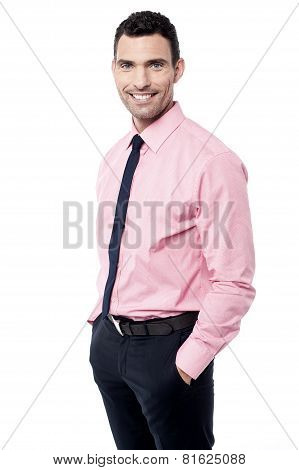 Man in pink dress shirt