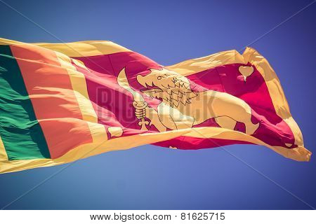 Sri Lankan Flag Billows In The Wind