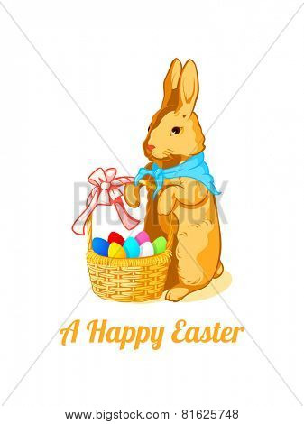 Vintage Easter rabbit with the color eggs in the basket