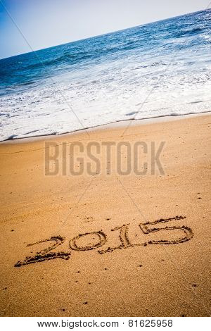 2015 Written Into The Sand On A Beach