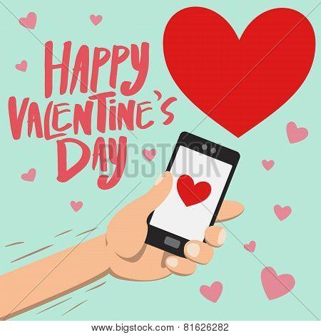 Happy Valentine's Day On Smartphone