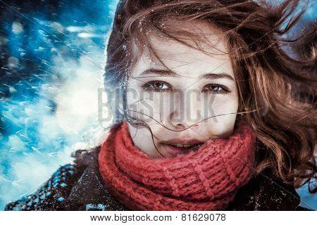 Beautiful Brunette Girl Blowing Star Dust - Winter Portrait
