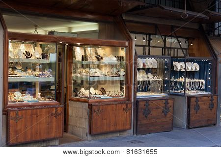 Jewelry shops on the Ponte Vecchio.