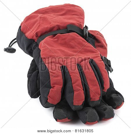 Pair of ski gloves isolated on white background.
