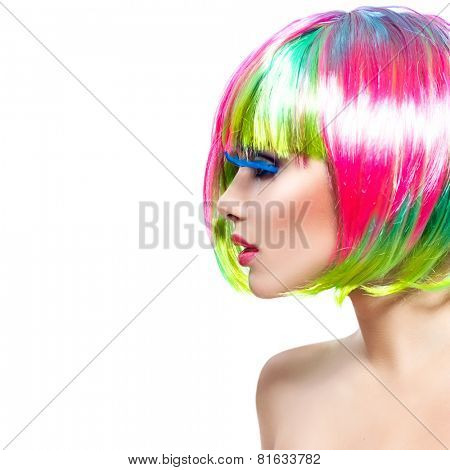 Beauty Fashion Model Girl with Colorful Dyed Hair. Short Bob Haircut with fringe. Colourful short Hair. Portrait of a Beautiful Girl with Dyed Hair, professional hair Coloring. Colouring hair