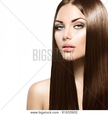Beauty Woman with Long Healthy and Shiny Smooth Brown Hair. Model Brunette Girl Portrait over white background. Hair Extensions. Perfect skin, skincare.
