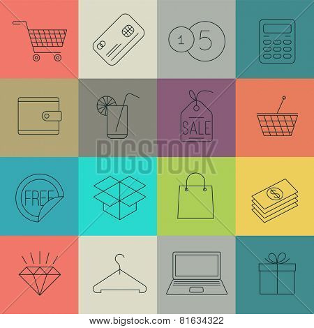 Thin line shopping icon set. Vector.