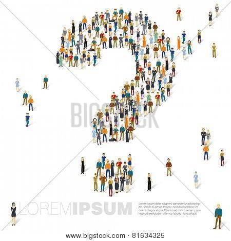 People crowd question mark vector template.
