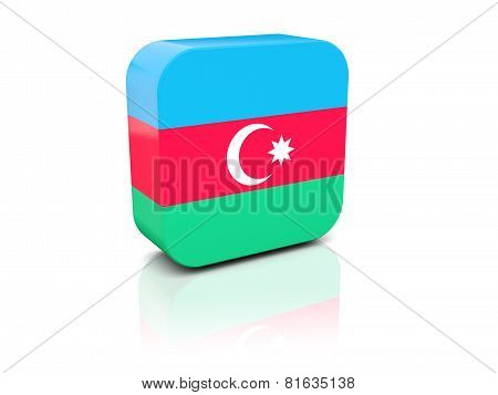 Square Icon With Flag Of Azerbaijan