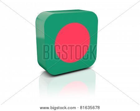Square Icon With Flag Of Bangladesh