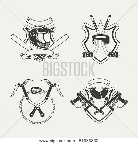 Set of extreme sports emblems, badges, labels and designed elements