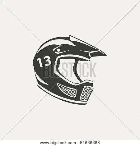 illustration of paintball mask. Black and white style