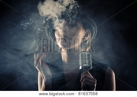 jazz singer woman with cigar and microphone